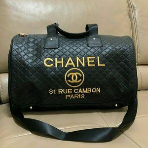 Chanel Travel Bag Duffle Gym Bag Cross Body New